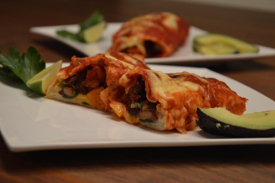 Enchiladas mit Butternuss und Kidneybohnen