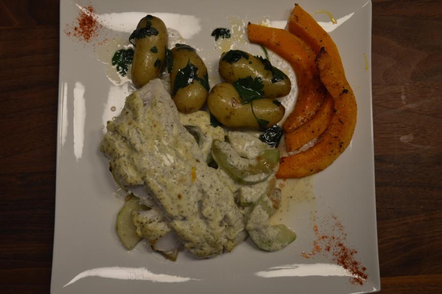 Ofenfisch mit Schmorgurken